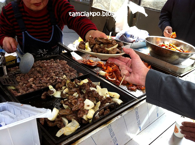 Many street food stalls in Insadong area, Seoul