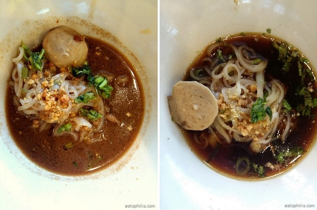 Two versions of boat noodle - Pathumtani and Ayutthaya